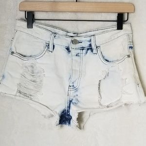 F21 VERY Distressed High Waist Acid Wash Shorts